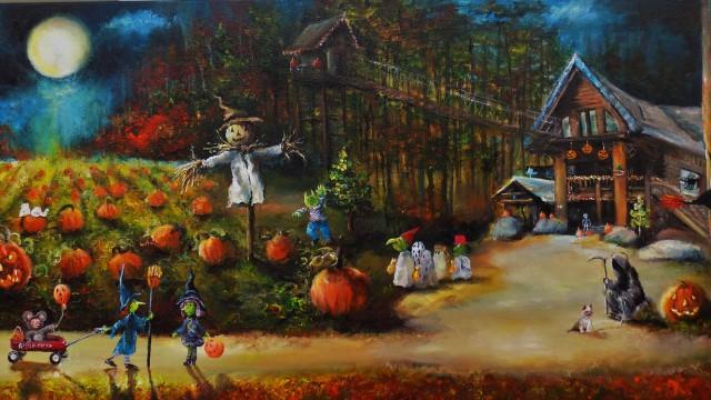 Bobby's Moonlit Halloween 18x36x1.5 2016 SOLD