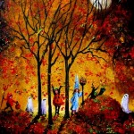 MOONLIT Halloween Kids in the Falling Leaves 16x20 2008 AL