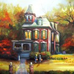 trick or treaters approach autumns red manor 24x36x1.5 2011