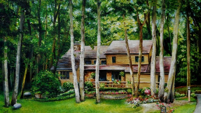 View my Home Portrait Gallery link on the top of this Home page. I paint home portraits all year long in any season. Message me through my website if you would like a custom made painting. Lizzy Rainey