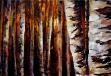 Sunset Birch  16&#215;40  2013