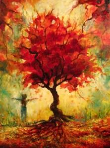 Joy Under the Red Tree 18x24x1.5 2016 church donation