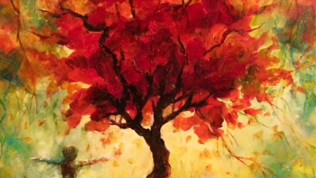 """Joy Under the Red Tree"" 18x24x1.5 2016 Sold"