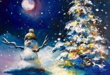 Purdue Hat Snowman by Moonlight 2016
