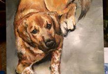 """Django, A Portrait of Jayson's Dog"" on the easel 2017"