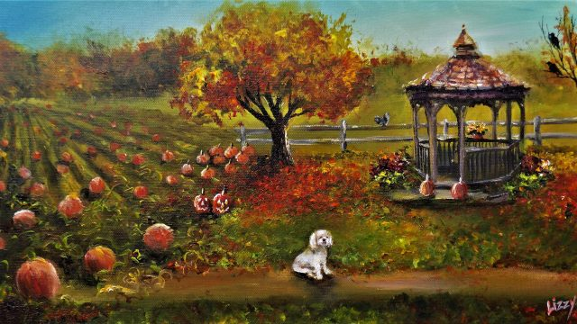 """""""Autumn Day with Fi"""" 2017, 10x20 sold"""