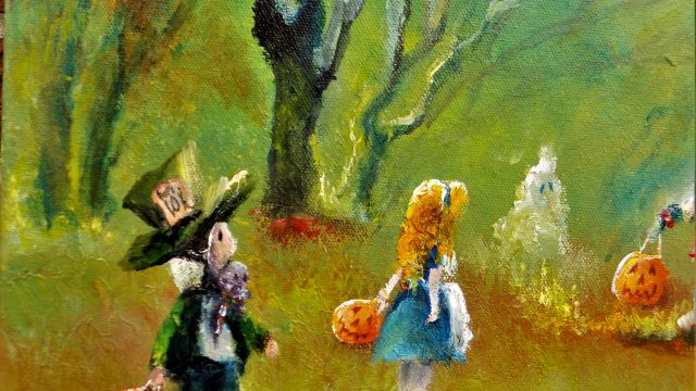 """""""Trick or Treat in Wonderland"""" Curiously Enchanting. Alice in Wonderland theme Fan Art 2018 SOLD"""