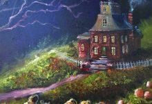 For Sale on ebay ... Original Painting Lizzy Folk Art Halloween