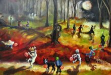 """Moonlit Wild Things and the Trick or Treaters"" 24x36x1.5 inch Sold"