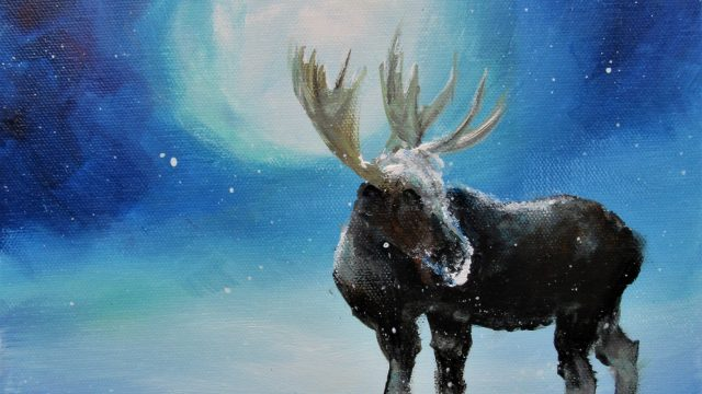 Moonlit Moose For Sale on ebay 10x10x1.5 2019