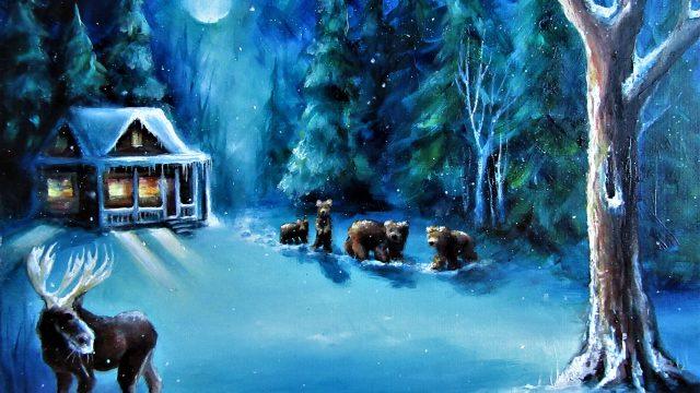 Moonlit Winter Woods 2019  for Teddy and Nikki SOLD