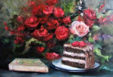 "Valentines Day Gift for Sale   ""Flowers, Poems and Cake"" 20x20 in 2020 by Lizzy"