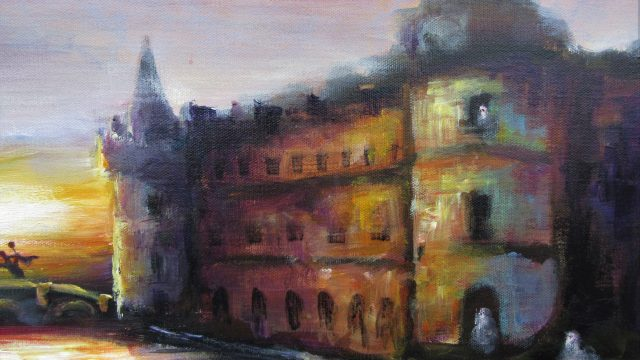 """We Hesitated to Trick or Treat at the Old Castle"" 22x28x1.5 2020"