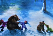 """Playing with Bears"" 16x40"